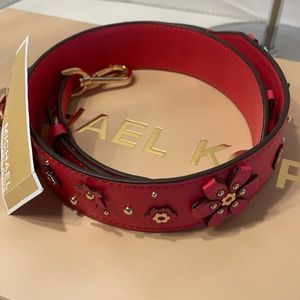 MK Bag Strap - Leather / Deep Pink NWT
